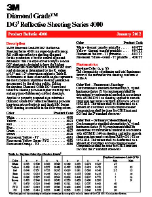3M DG3 Product Bulletin