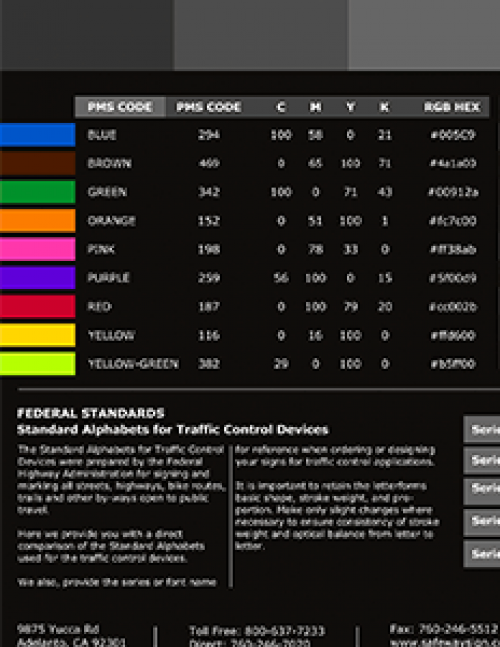 FHWA Color Standards for Printing and Standard Alphabet