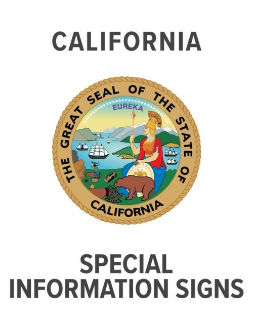 California Special Information Sign Specs